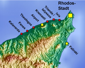 Map of northern Rhodes - airport