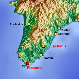 Rhodes map Lachania