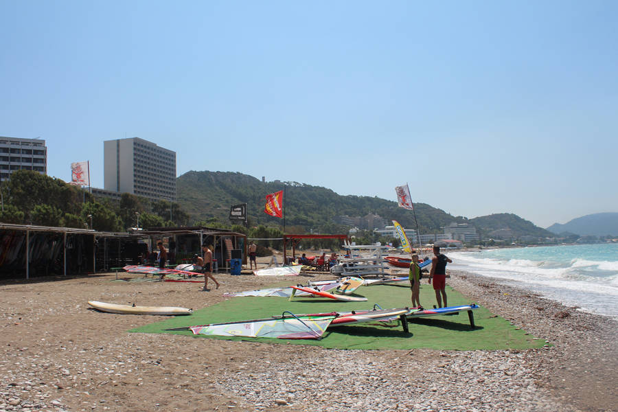beach of surfing center in Ixia